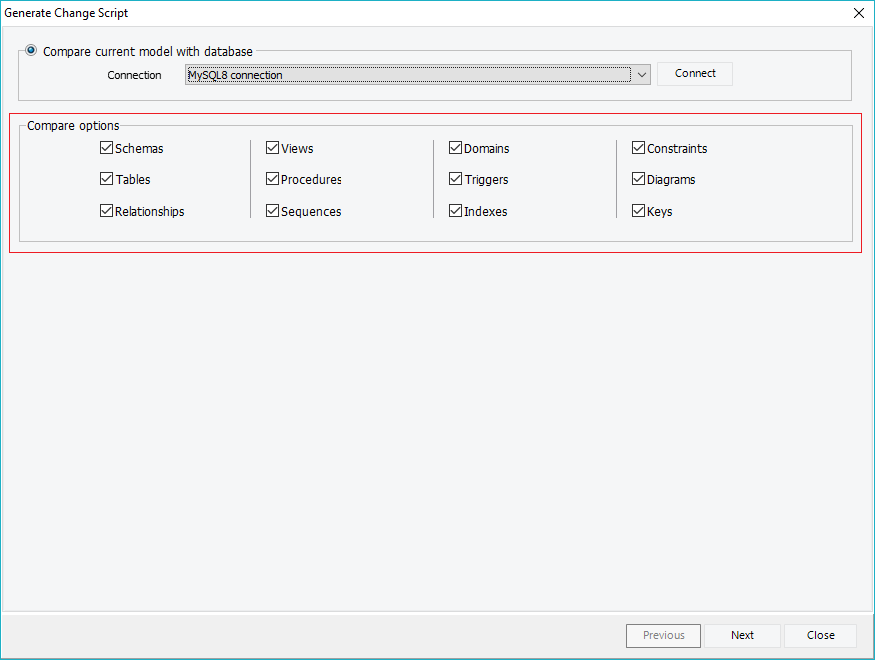Customize the schema synchronization process by selecting the schema objects, that will be synchronized.