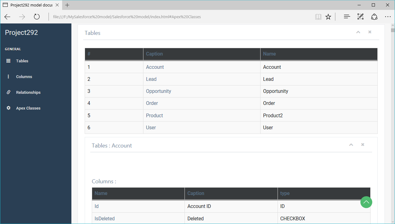 ERBuilder for Salesforce documentation report