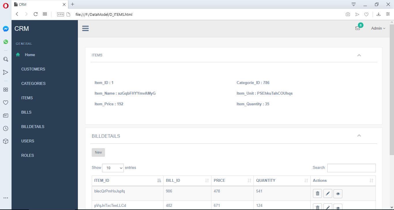 ERBuilder user interface details view
