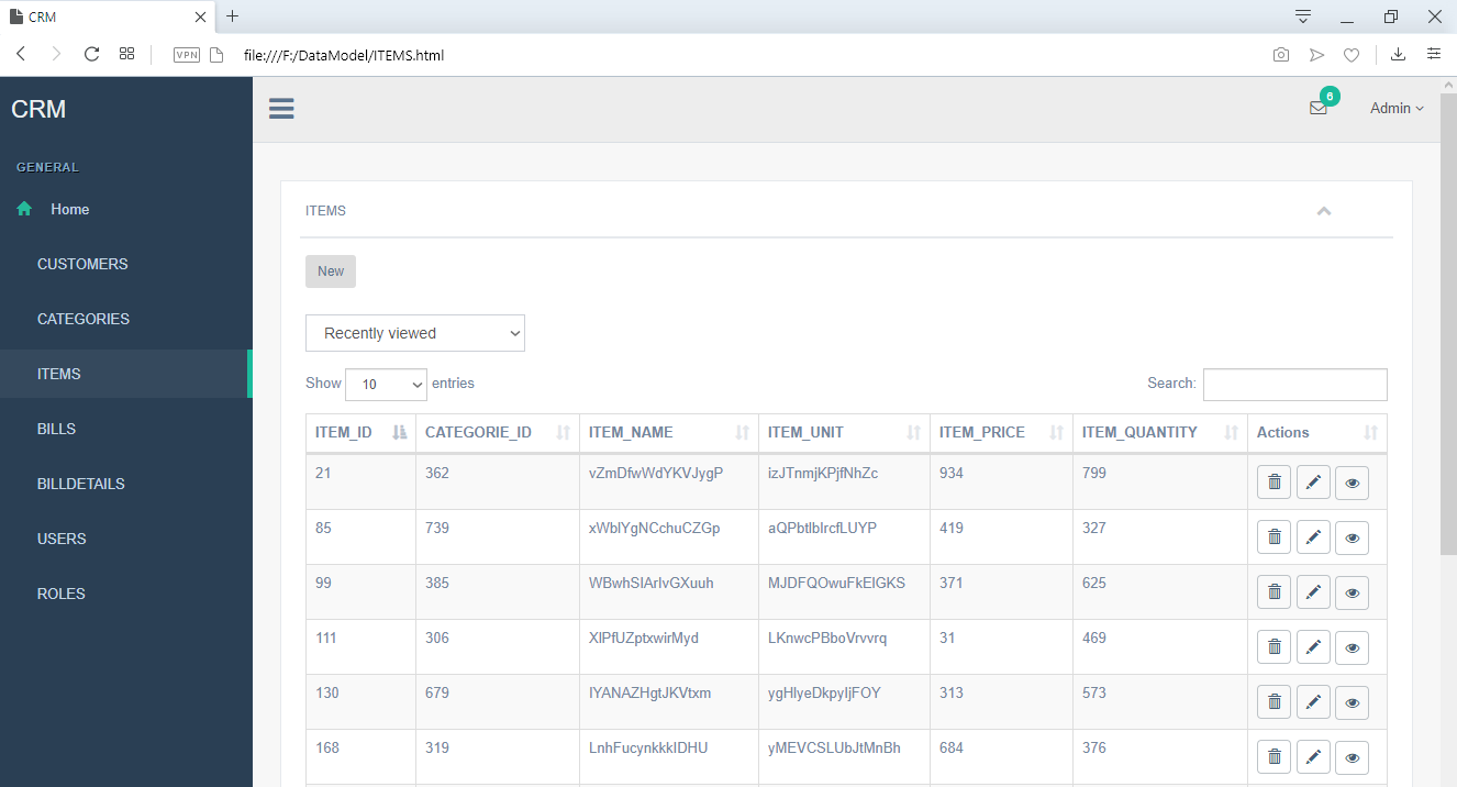 ERBuilder user interface grid view
