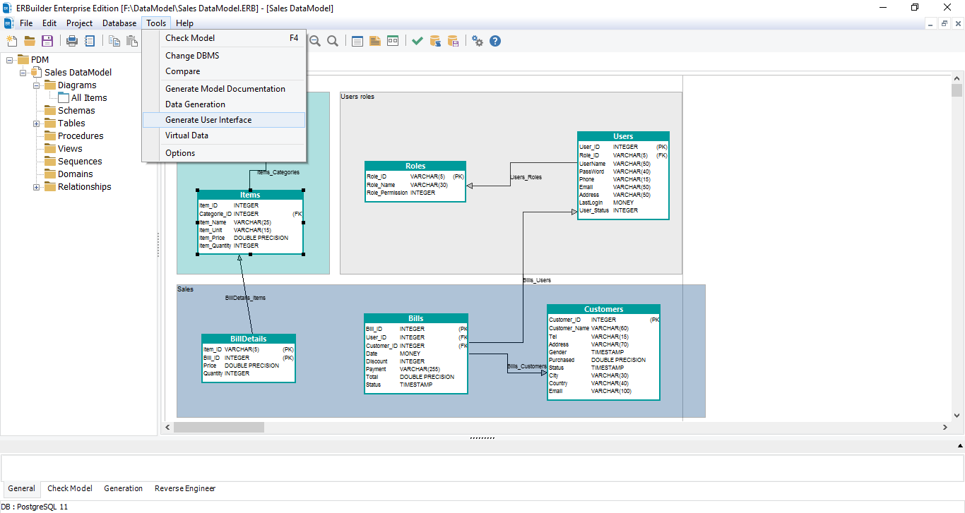 ERBuilder generate web user interface