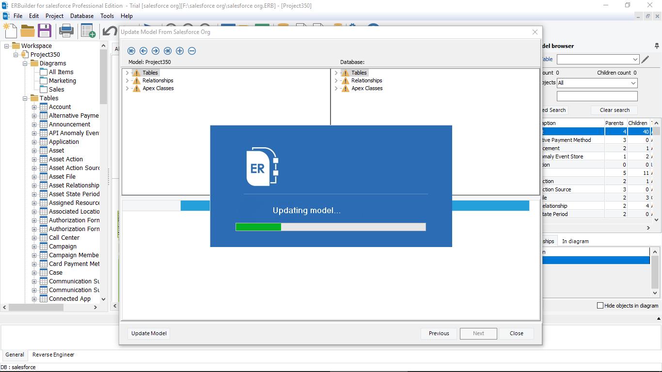 ERBuilder for Salesforce update model