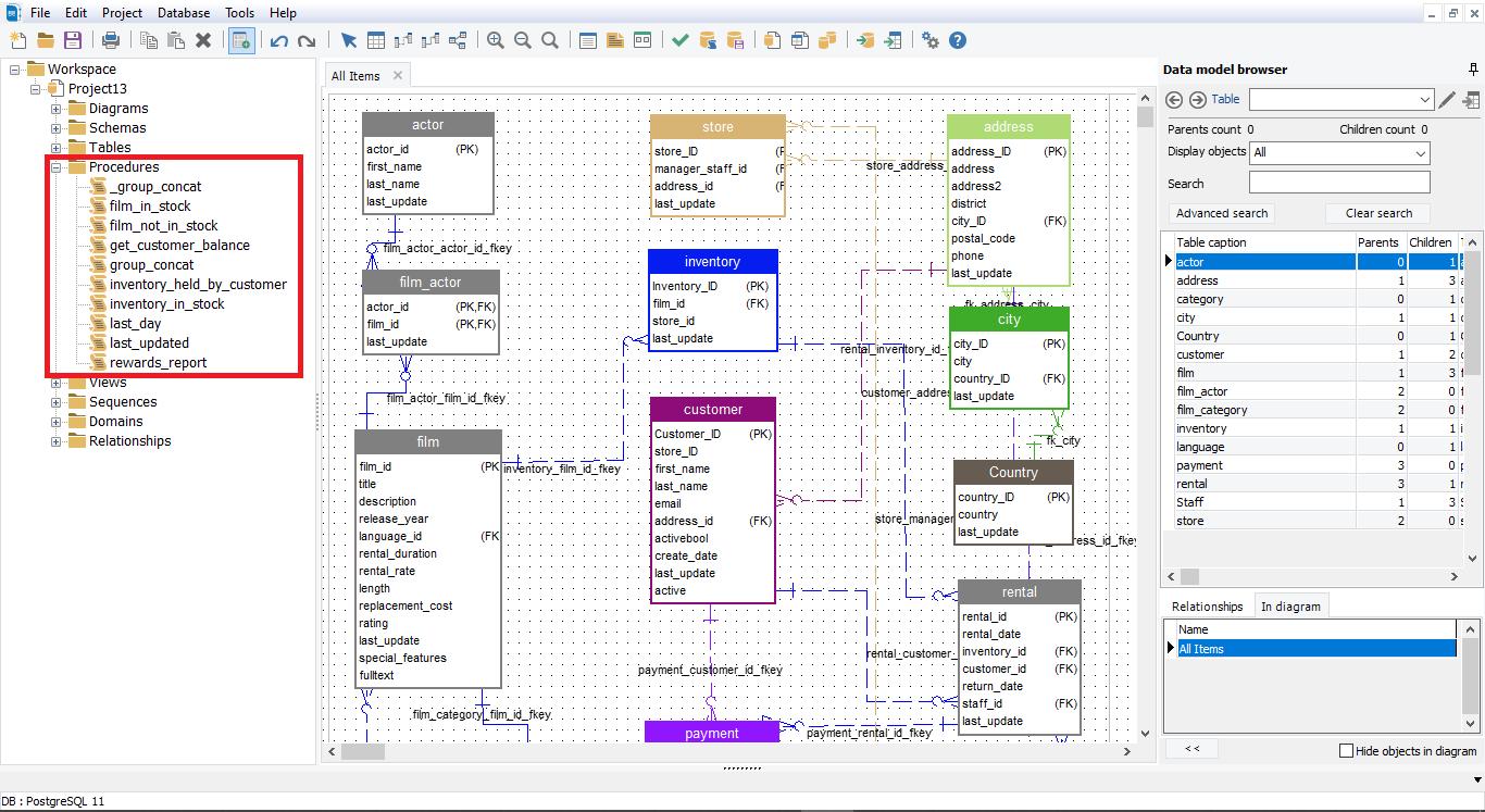 erbuilder list all procedures in PostgreSQL database