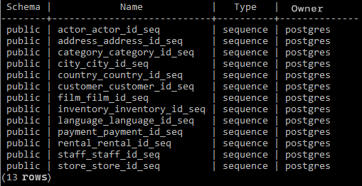 list all sequences in a PostgreSQL database using psql