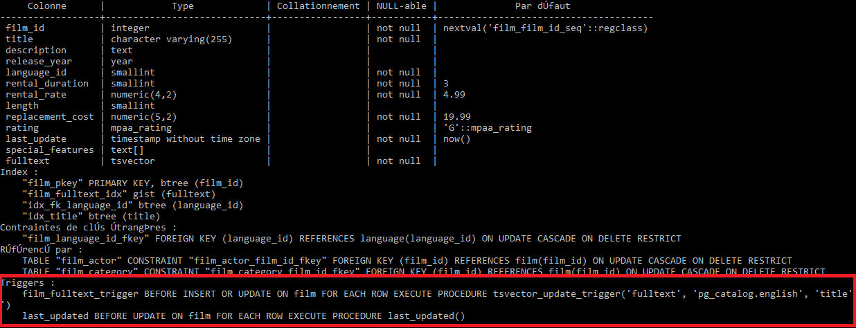 list all triggers in a PostgreSQL database using psql