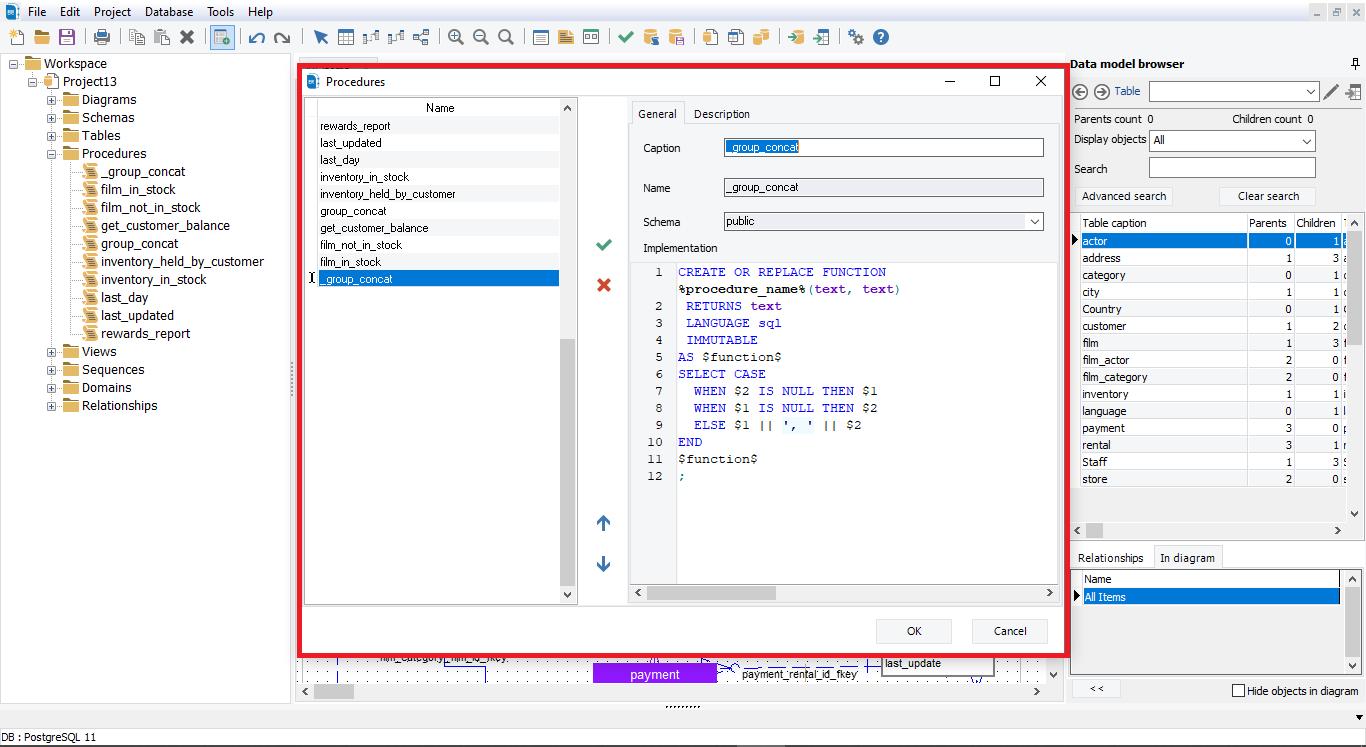Show procedures details with erbuilder data modeler- softbuilder