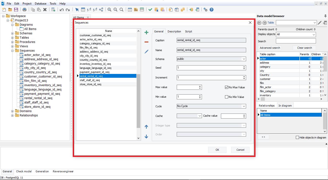 Show sequences details with erbuilder data modeler- softbuilder