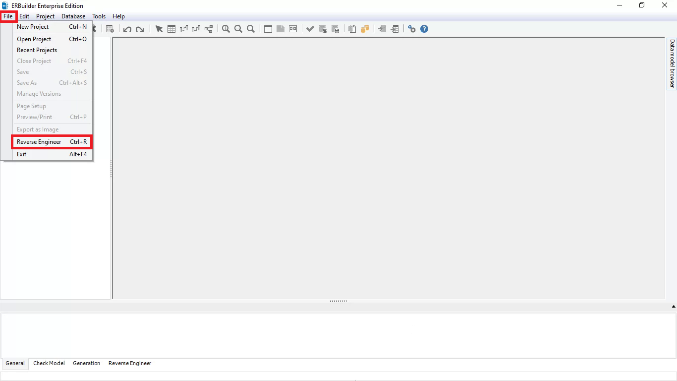 Click the file button then chose the reverse engineer menu item