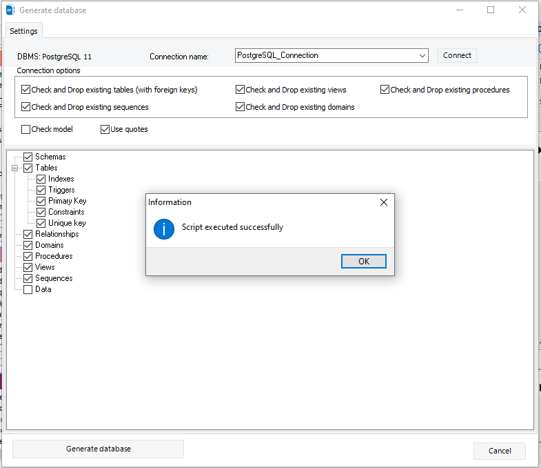 This step will take some time, depending onthe size of the database