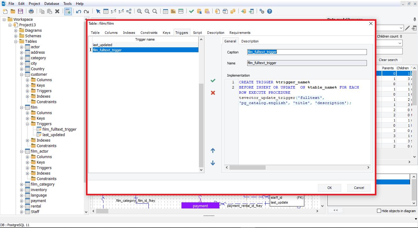 Show trigger details with erbuilder data modeler- softbuilder