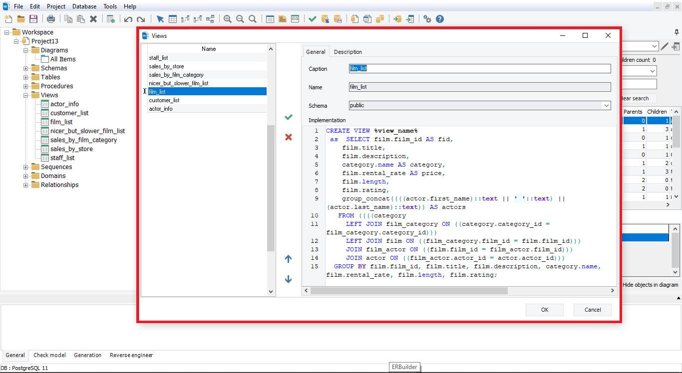 Show view details with erbuilder data modeler- softbuilder
