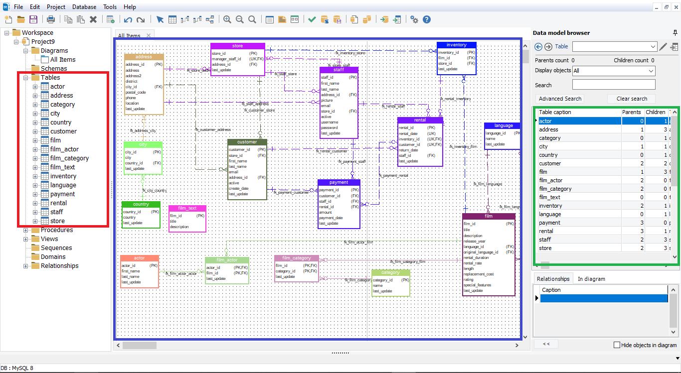 display all tables in mysql with erbuilder data modeler - softbuilder