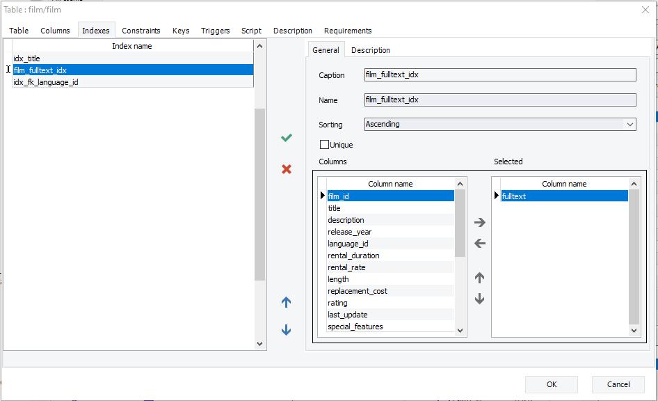Show indexes details with erbuilder data modeler- softbuilder